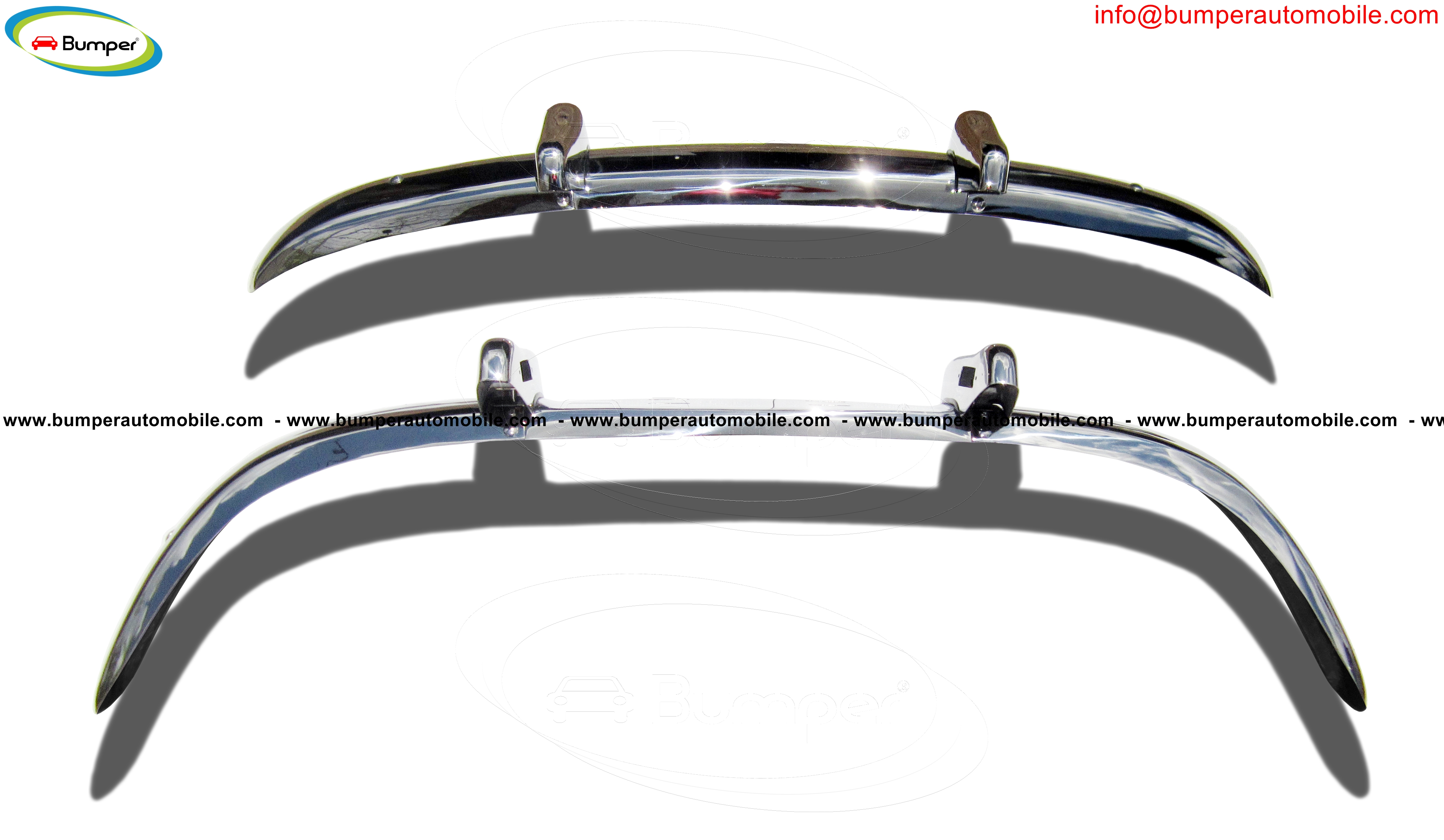 Volvo PV 544 Euro (1958-1965) bumper stainless steelview from behind)