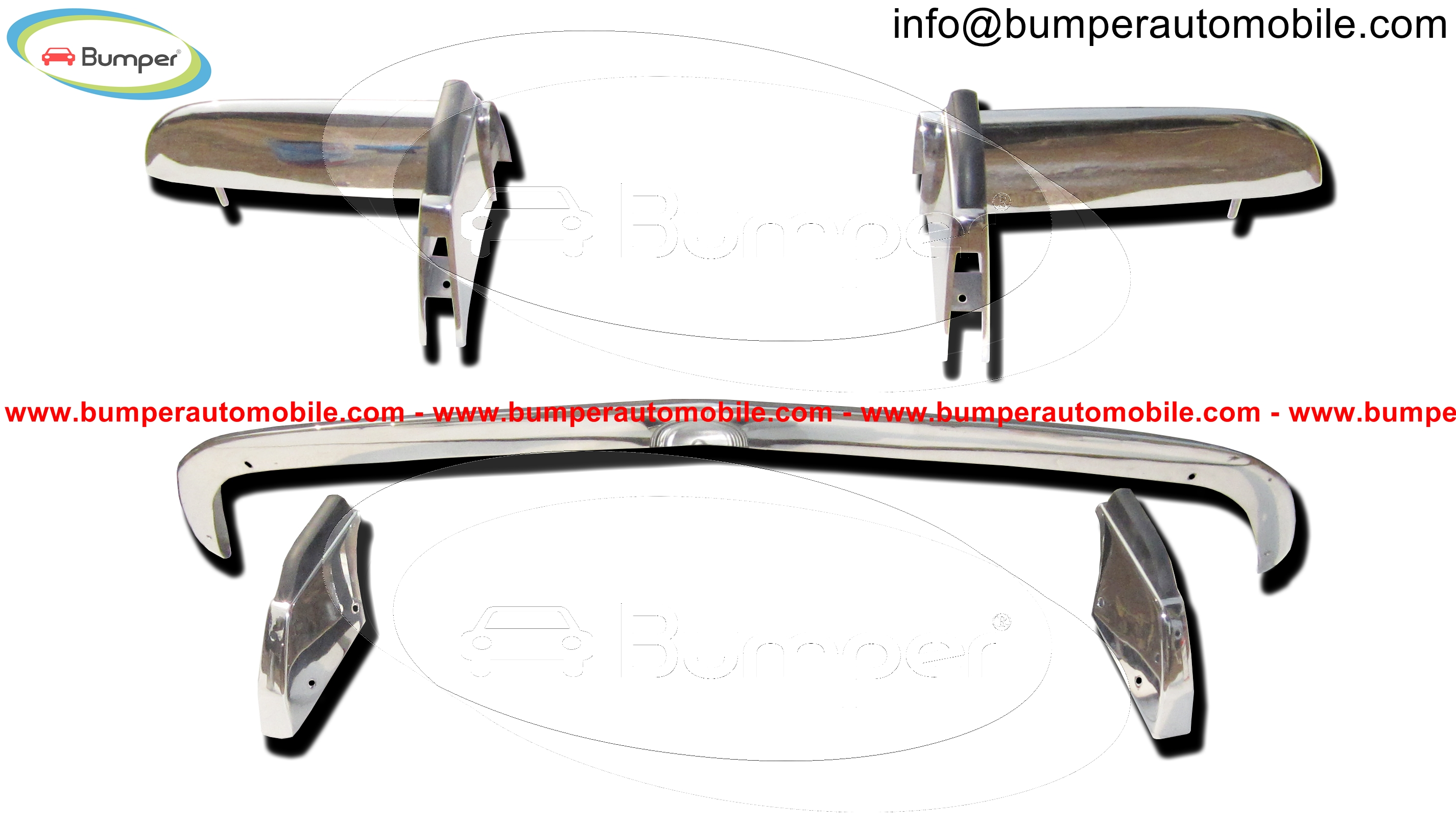 Opel GT bumpers (1968-1973) polished stainless steel