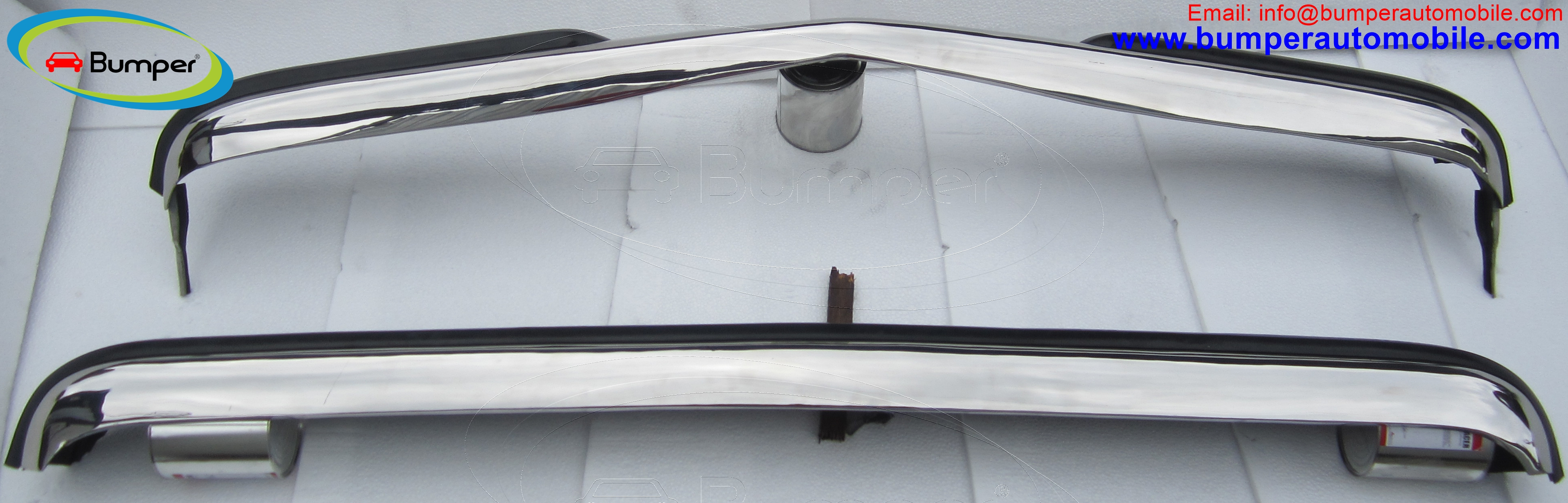 Mercedes W123 Sedan bumper ( 1976 - 1985 ) stainless steel 2