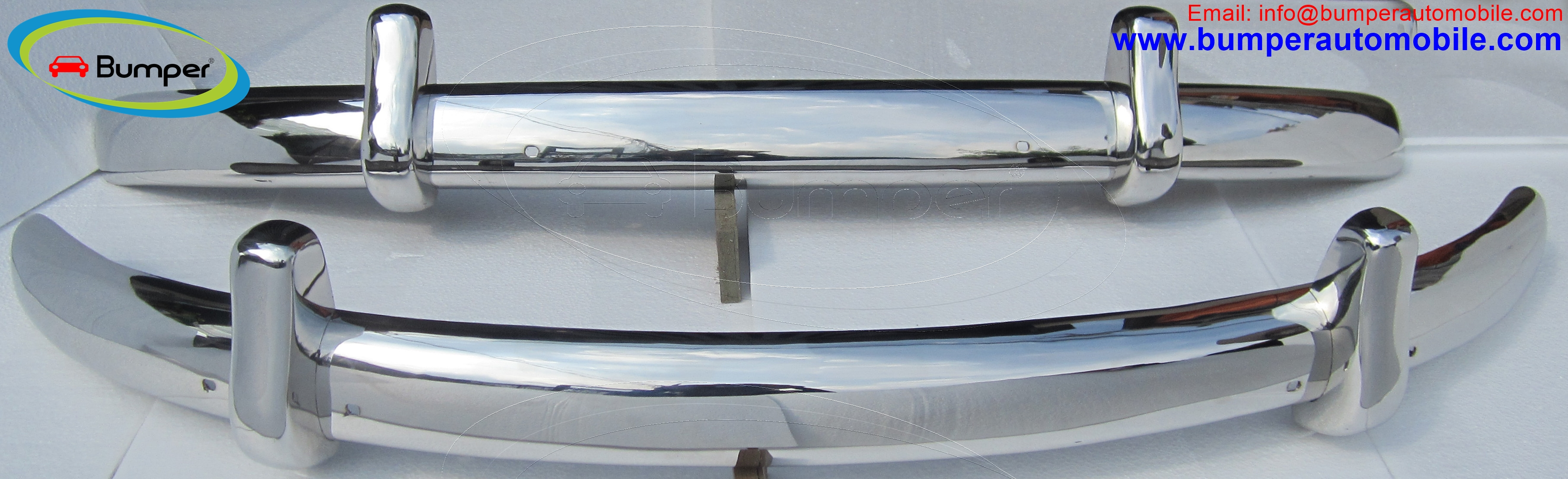 Volkswagen Beetle Euro style bumpers (1955-1972) polished stainless steel
