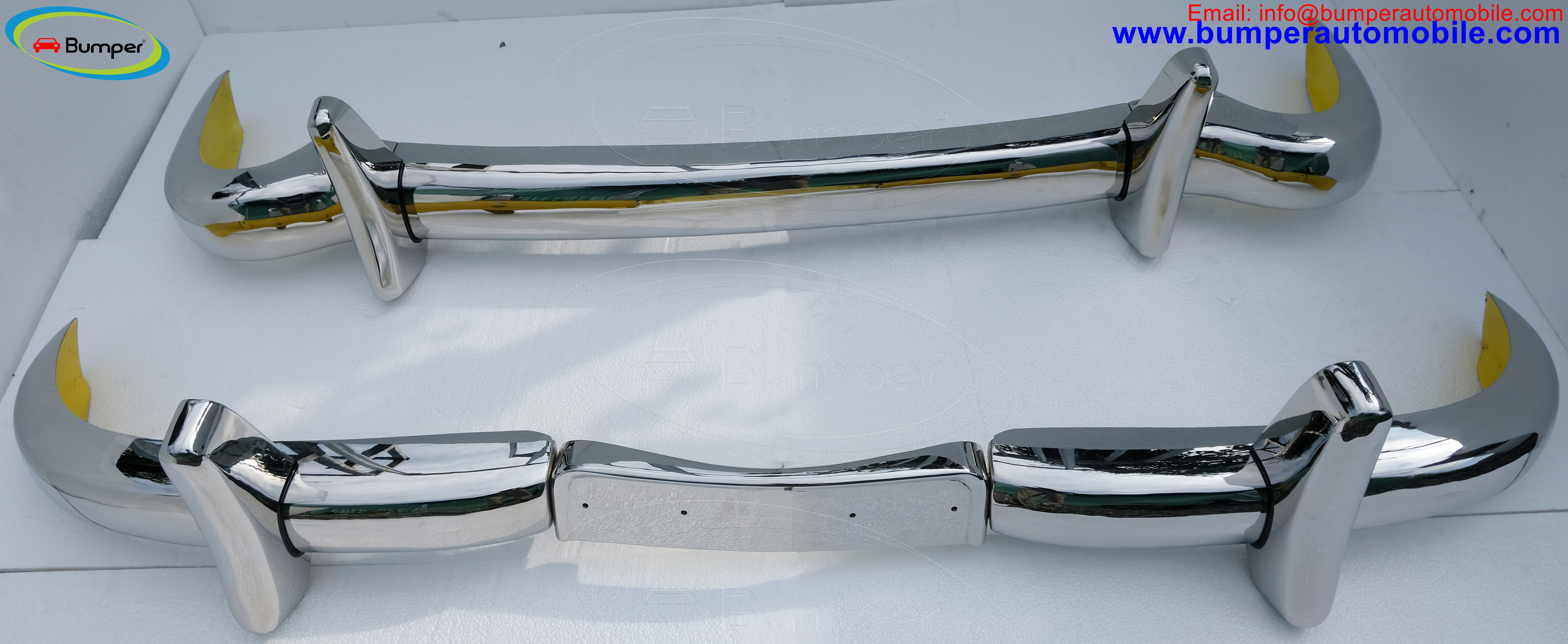 Mercedes Ponton W180 W128 Coupe bumpers models 220A, 220S, 220SE (1956-1960) polished stainless steel