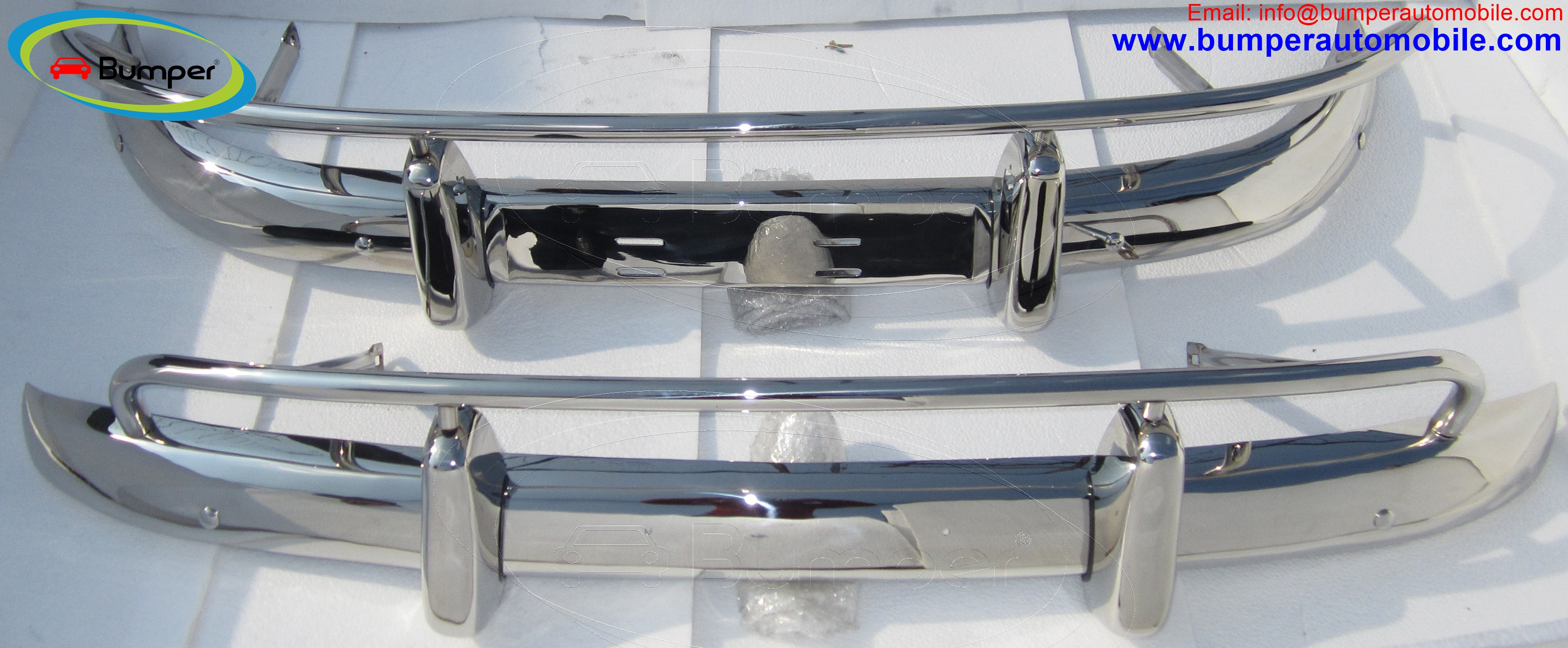 Volvo PV 544 USA type bumpers (1958-1965) polished stainless steel